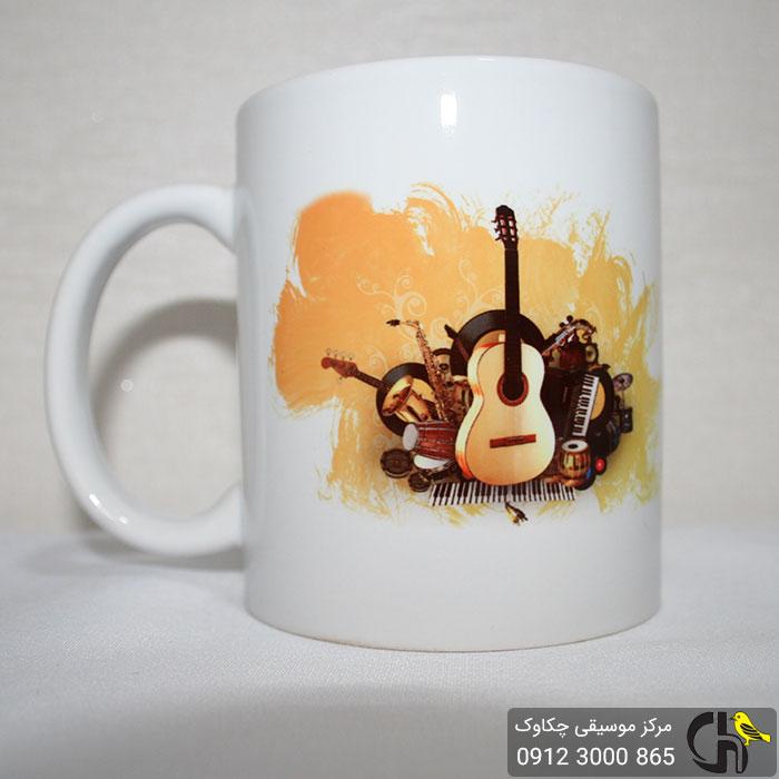 لیوان دسته دار (ماگ) طرح موسیقی - گیتار به همراه سازها